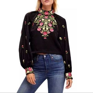NWT Free People Embroidered Long Sleeve
